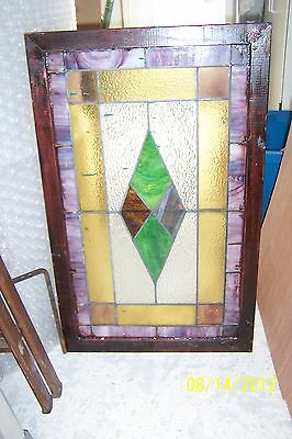 Antique Vintage Stained Glass Window  Diamond Shape Center