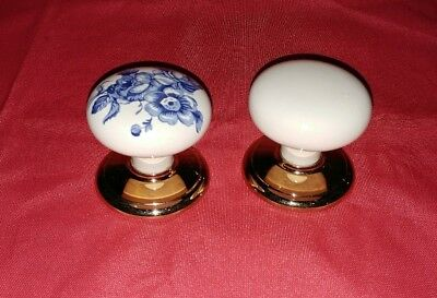 Vintage Victorian White Blue Floral Porcelain Brass Door Knobs