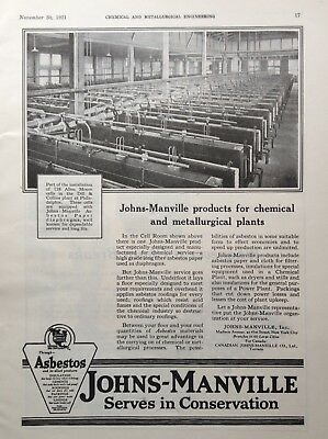 1921 Ad(G15)~Johns-Manville Co. Asbestos Paper Plant Machine Protection