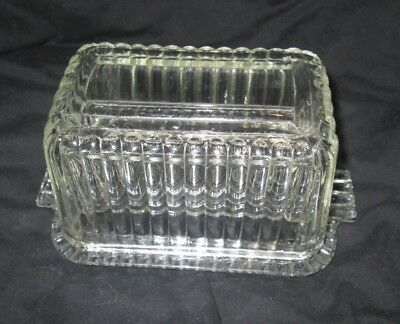 Vintage Ribbed Glass Butter Dish Rectangle