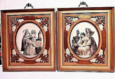 Matched Antique Victorian Pictures in Hand Carved 13X15 Wood Frames & Silk Matte