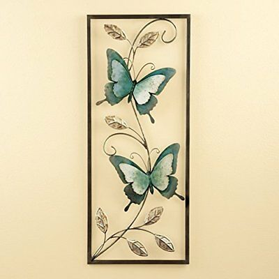 NEW COLORFUL FRAMED Metal Butterfly Wall Art Home Decor 30\