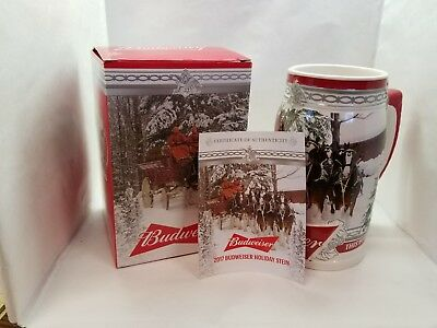 2017  Anheuser Busch AB Budweiser  Holiday Christmas Beer Stein Clydesdales
