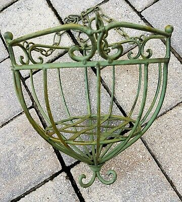 Vintage wrought iron hanging planter Victorian verdigri finish ornate