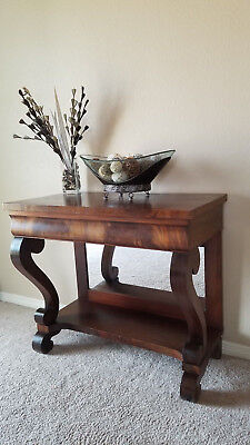 Early 1900's Antique Mahogany Wood Server Table w/ Mirror Lower! buffet console