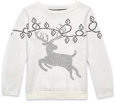 BABY GIRL Silver Stag Deer JUMPER Pure Cotton CREAM Festive WINTER TOP Pullover