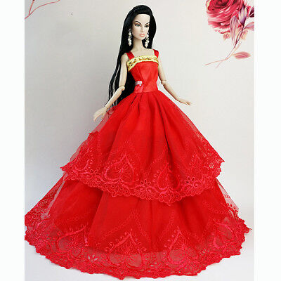 Red Fashion Wedding Gown Dresses Clothes Outfit Party For Barbie Doll Xmas Gift