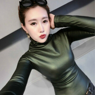 1X Fashion Lady Faux Leather Sexy Basic Pullover Blouse Slim Elastic Tops Casual