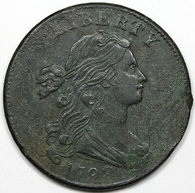 1798 Draped Bust Large Cent, Style 2 Hair, XF detail