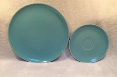 Mcm Universal Potteries Ballerina Periwinkle Luncheon Plate And Saucer