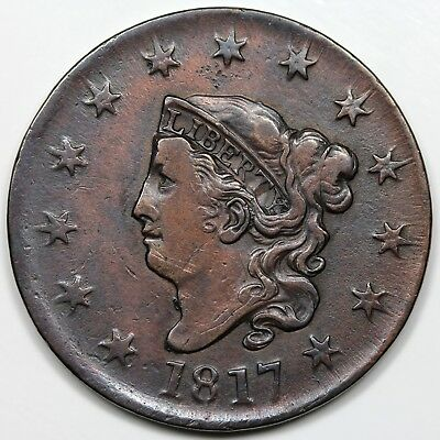1817 Coronet Head Large Cent, XF detail