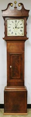Antique C1850 Flame Mahogany English 8 Day Cottage Longcase Grandfather Clock