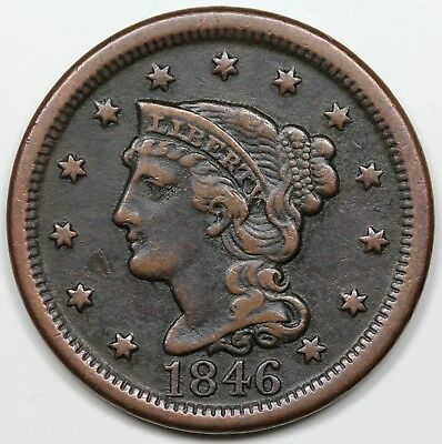 1846 Braided Hair Large Cent, Tall Date, VF-XF detail