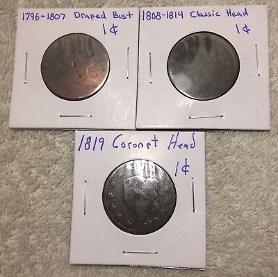 Old American Large Pennies/Cent lot of 3 Draped Bust, Classic Head, Coronet Head