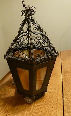 Antique Spanish Revival (?)  Hanging Lantern with Iron Scrollwork, Slag Glass