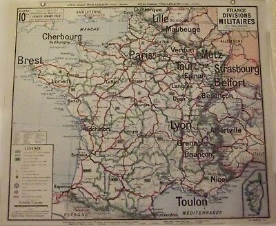Map of Geography Vidal 33 x 27 cm France Military Courts Brest Rochefort Lyon To