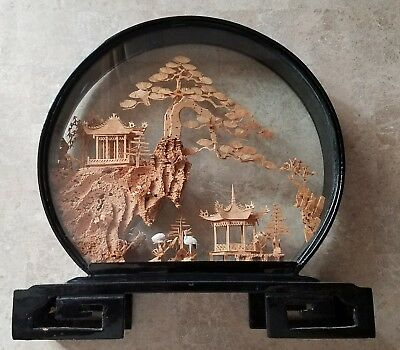 Vintage Asian Japanese Carved Cork Scenic Diorama
