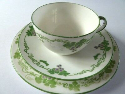 FOLEY SHELLEY CUP SAUCER PLATE TRIO--GRAPE pattern 8070--GREEN stamp
