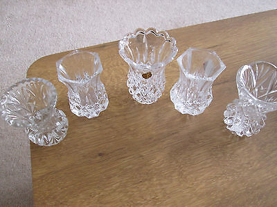5 x Clear Glass Bud Vases ~ Crystal / Pressed ( D )