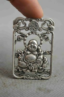 China Collectable Handwork Decor Old Miao Silver Carve Buddha Auspicious Pendant