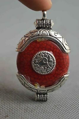 Collectable Handwork Decor Old Miao Silver Carve Totem Inlay Agate Lucky Pendant