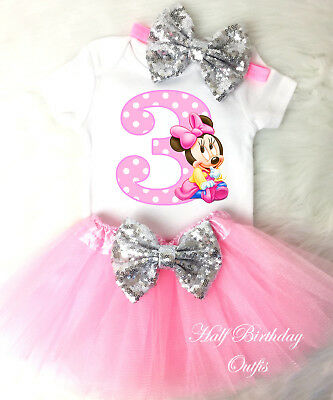 MINNIE MOUSE RED White Black Dots Girl 3rd Third Birthday