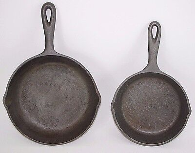 Vintage Cast Iron Skillet Frying Pan LOT with Heat Ring #5 #3 ~ MADE IN USA