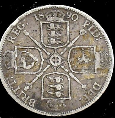 1890 Very Good (VG) Great Britain Silver Florin (Two Shilling) - uk64
