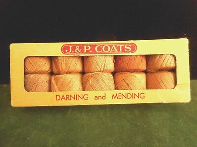 J & P Coats Vintage Darning & Mending Thread, Orig Box, 1940's, Cotton, 250 yard