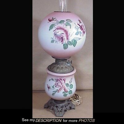 Antique Gone With The Wind GWTW Kerosene Lamp Rose Decoration Pink Background