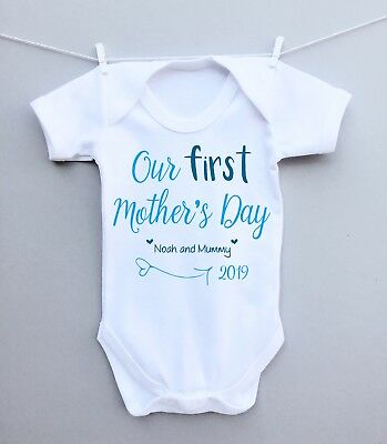 Personalised baby bodysuit vest grow our 1st mothers day mummy present gift