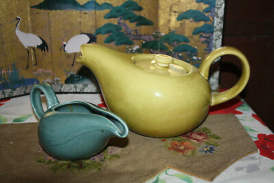 Vintage Russel Wright Steubenville Modern Chartreuse Teapot + Green creamer  HTF