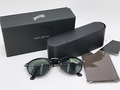 NEW PERSOL PO3046S 95/58 REFLEX EDITION Black; Polarized Crystal green AUTHENTIC