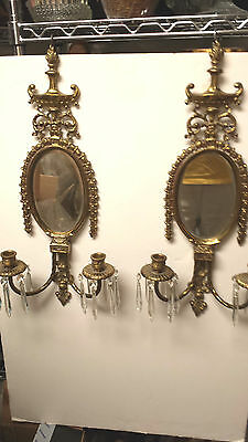 Pair Vintage Brass Oval Mirror Sconces 2 Candle Holders W/crystal Prisms