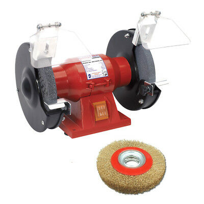 "Sealey 150Mm 6"" 150W Bench Grinder With Twin Grinding Stones + 6"" Wire Wheel"