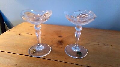 Pair of Art Deco Style Crystal Candlesticks by RCR