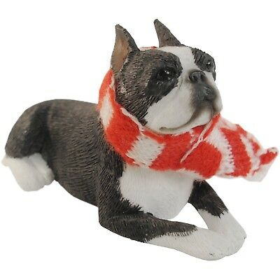 Sandicast Boston Terrier with Red and White Scarf Christmas Ornament New