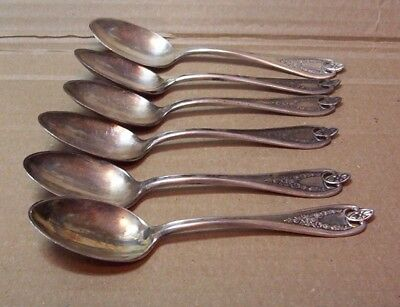 6 Antique Silver Plate Spoons 1847 Rogers Bros. XS Triple Plate Old Colony Nice