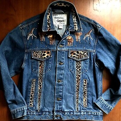 VTG Jackets of Distinction Gepetto Denim Jean Jacket Animal Safari EUC Women L