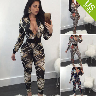 Women's Sexy  Floral Deep V-Neck Long Sleeve Bodycon Pants Jumpsuit Rompers