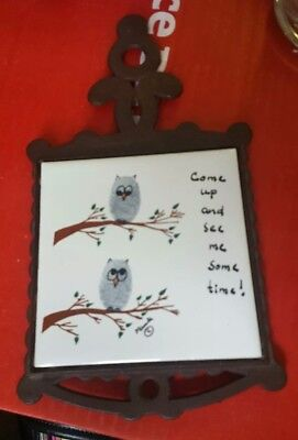 """Vintage CAST IRON TRIVET with Ceramic Tile """"Come up and see me sometime"""" owls"""