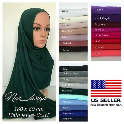 Premium Cotton Jersey Plain Scarf Hijab Head cover Stretchable 45colors 170x55cm