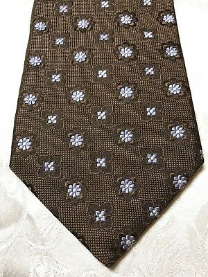 NORDSTROM Vintage TRAD IVY Embroidered Blue Flowers Silk Tie USA Like Ted Baker