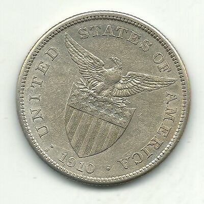A High Grade Au 1910 S Us Philippines Silver One Peso Coin-Nov303