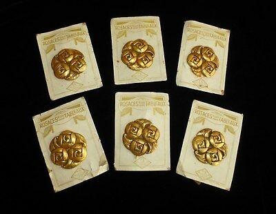 6 French Antique Architectural Rosettes - Ormolu Nail Covers - Floral Art Deco