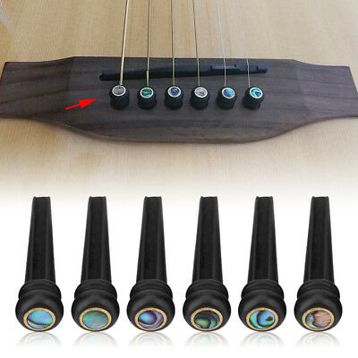 6Pcs Ebony Bridge Pins With Abalone Shell Dot for 6 String Acoustic Folk Guitar