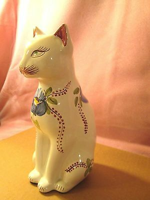Porcelain Cat Figurine Numbered 222/56 Hand Painted Portugal Flower w Green Eyes
