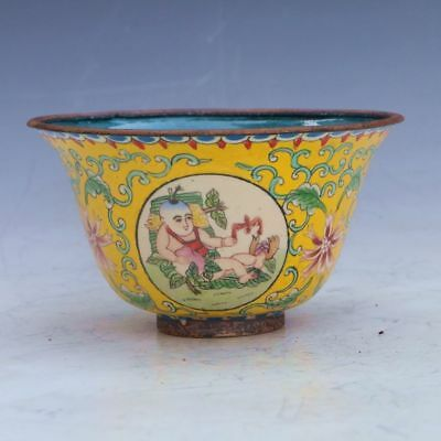 Chinese Cloisonne Hand-Made Children Hold Peaches Bowl W Qianlong Mark