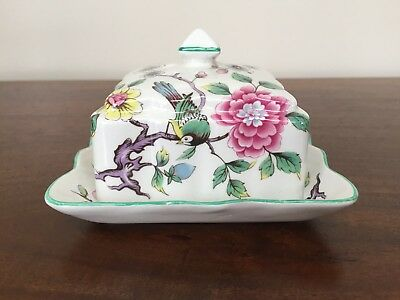James Kent Old Foley CHINESE ROSE Square Covered Butter Dish ~ England