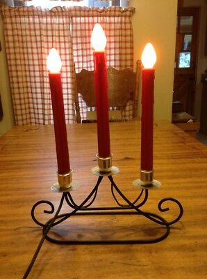 vintage electric christmas candle wrought iron look metal base Red Set